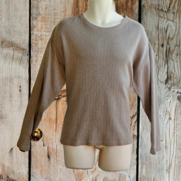 VAN HEUSEN Beige Ribbed Pullover Sweater